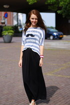 striped Primark top - maxi Primark skirt