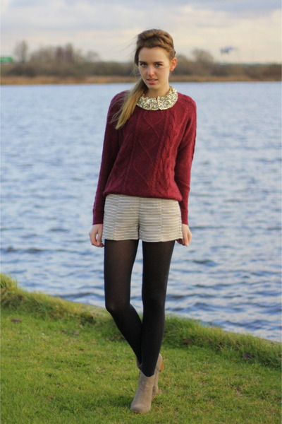 oxblood H&M sweater - Isabel Marant boots - H&M shorts