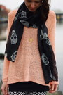 Salmon-h-m-sweater-zara-boots-print-pieces-leggings-skulls-h-m-scarf