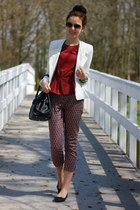 white Primark blazer - brick red H&M top - black printed H&M pants
