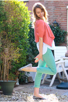 aquamarine pastel Zara jeans - salmon Forever21 blazer - white Zara blouse