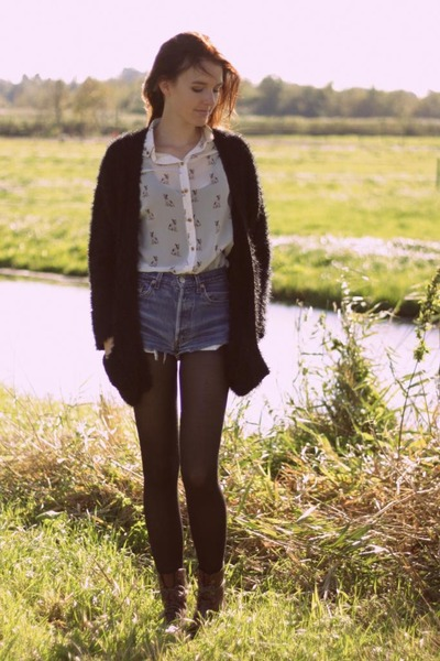 ivory Primark blouse - brown H&M boots - blue Levis shorts