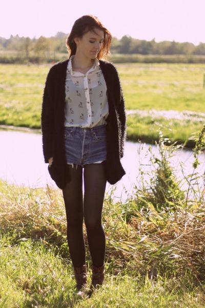 ivory Primark blouse - brown H&M boots - blue Levis shorts