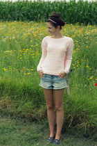 knitted pink Primark sweater - denim H&M shorts - Zara loafers