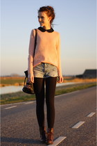 dark brown Primark boots - salmon Pimkie sweater - navy h&m divided shorts