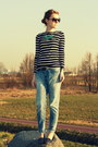Turqouise-primark-necklace-h-m-jeans-stripes-primark-top