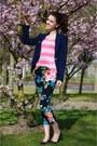 Navy-mango-blazer-pink-knitted-primark-shirt-black-floral-h-m-pants