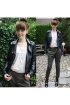 green H&M pants - black h&m divided jacket - beige H&M Trend top - black River I