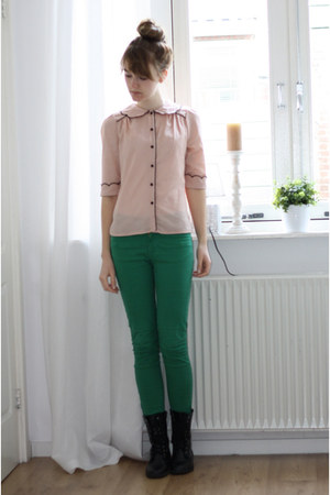 light pink Primark blouse - black H&M boots - green Zara pants