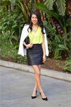 white asos blazer - black Zara skirt - black dorsay pumps Nine West pumps