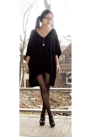 black BABOOSHKA dress - gold Trifari necklace - black No Nonsense tights - black