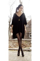 black BABOOSHKA dress - gold Trifari necklace - black No Nonsense tights - black