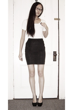 white Uniqlo shirt - black H&M skirt - black Steve Madden shoes