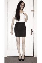 white Uniqlo shirt - black H&M skirt - black Steve Madden shoes