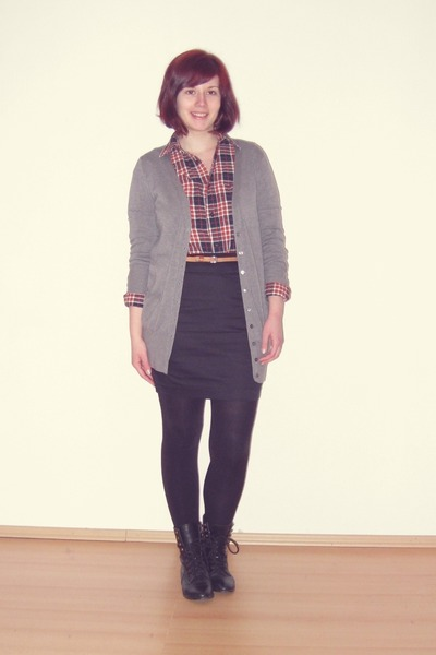 black asos boots - burnt orange H&amp;M shirt - black H&amp;M skirt - silver Zara cardig