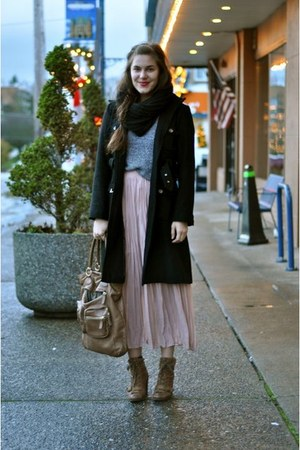 thrifted skirt - Nine West boots - J Crew bag - thrifted vintage sweater - Marc