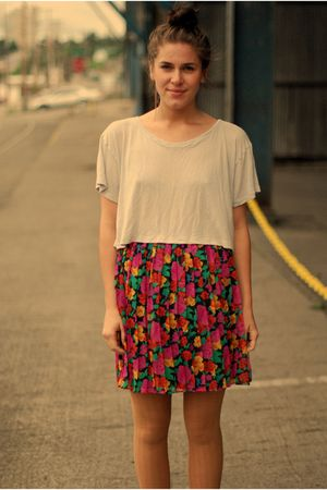silver - red vintage skirt - pink - orange - green - black