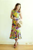 chartreuse vintage dress - camel satchel Miu Miu bag - tawny platforms vintage w