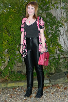 black floral kimono Missguided top - black Joe Browns top - black Ebay boots