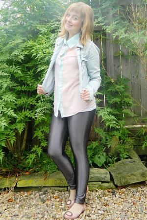 pink vivienne westwood flats - light blue denim Topshop jacket
