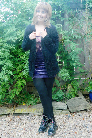 amethyst velvet Ebay skirt - black leather vintage doc martens boots