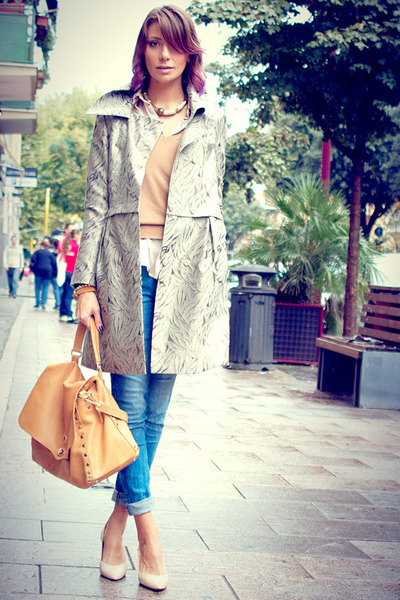 gold Postina by Zanellato bag - silver hoss intropia coat - blue Zara jeans
