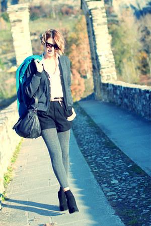 black asos heels - teal Rinascimento coat - beige vintage shirt