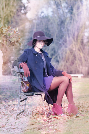 brick red Colcci shoes - navy Zara coat - dark brown Zara hat