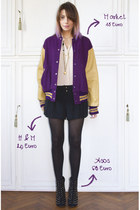 deep purple vintage jacket - black asos boots - black H&M shorts