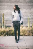 Yves Saint Laurent boots - R13 jeans - Chanel bag - acne sweatshirt