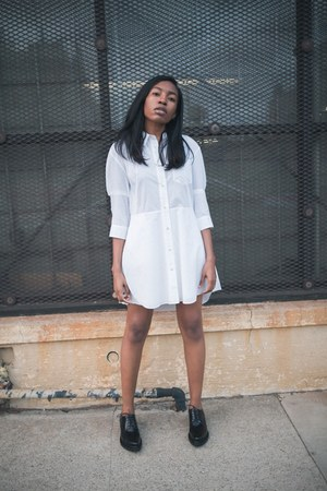 white Acne Studios dress - black Acne Studios flats