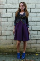 silk Anthropologie dress - modcloth jacket - leather lace up Jeffrey Campbell we