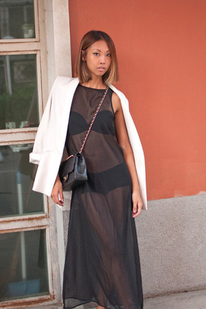 black sheer maxi Taobao dress - Zara blazer