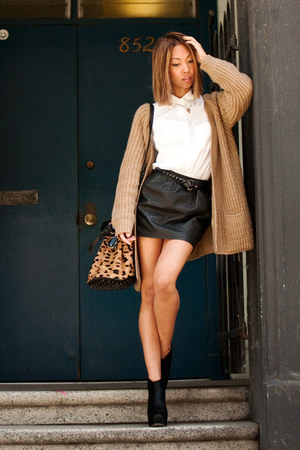 black BCBGcom boots - tan yesstylecom sweater - white Aritziacom shirt - tan Ale