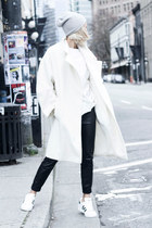 white Topshop coat - silver wool beanie Topshop hat - black Zara leggings