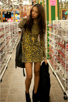 gold Rodarte for Target dress - black BCBG boots - black vintage coat - black Ch