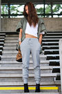 Gray-tna-pants-black-bcbg-boots-beige-alexander-wang-purse-white-tna-t-shi