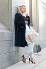 Navy-mango-coat-light-blue-thpshop-jeans-black-marciano-bag