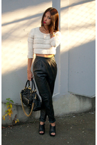 pink H&M sweater - black vintage pants - black Steve Madden shoes - black Marc J