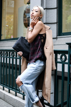 light blue unknown jeans - tan JNBY coat - black Nasty Gal sandals