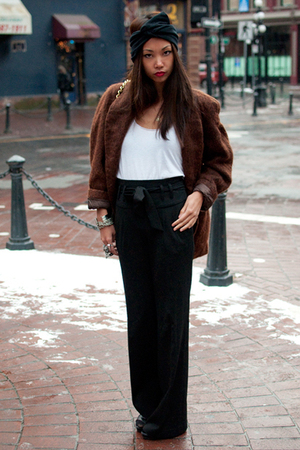 brown mohair vintage jacket - black stam Marc Jacobs purse