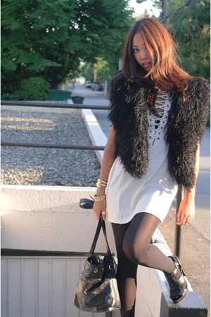 Zara vest - H&M dress - vintage purse - Zara shoes