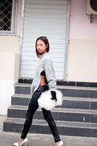 heather gray Yesstyle sweater - black Urban Outfitters pants - white Zara pumps