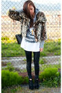 beige urban behavior jacket - black BCBG boots - silver TNA sweater
