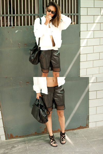 black knotted sandals Yesstyle shoes - white Yesstyle jacket - black Zara purse