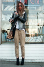 black BCBG boots - black H&M jacket - tan Alexander Wang bag