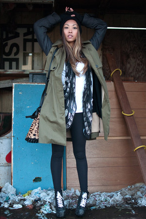 black Jeffrey Campbell boots - dark khaki Yes Style jacket - black tights TNA le