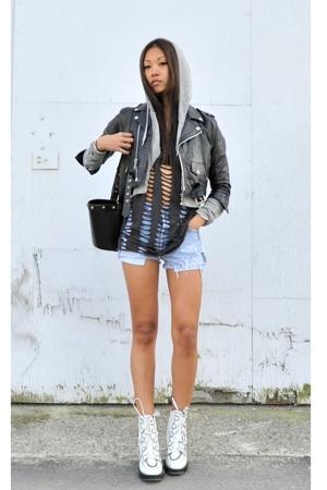 vintage jacket - H&M shirt - Levis shorts - Emma Cook for Topshop boots - TNA sw