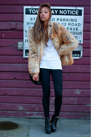 black Jeffrey Campbell boots - beige faux fur H&M jacket - black TNA leggings