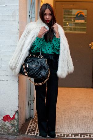 green spotted silk vintage blouse - white fur vintage coat